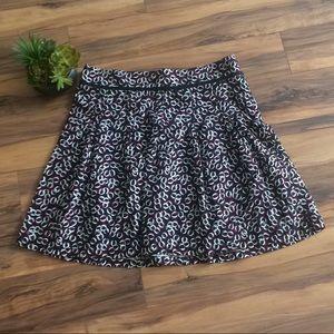 LOFT Black/White/Red Chainlink Print Midi Skirt